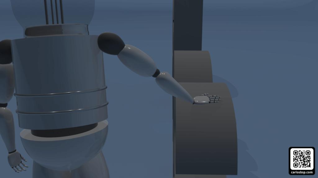 Robot apagado y acariciando las letras
