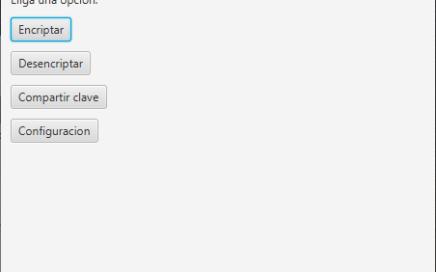 Menú de inicio de la aplicación de encriptado de archivos