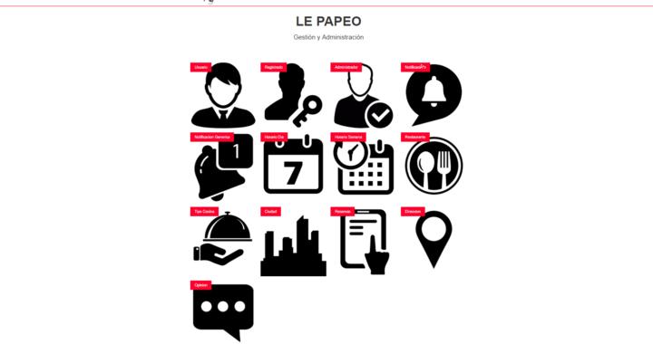 Menú de administración de la página de LePapeo