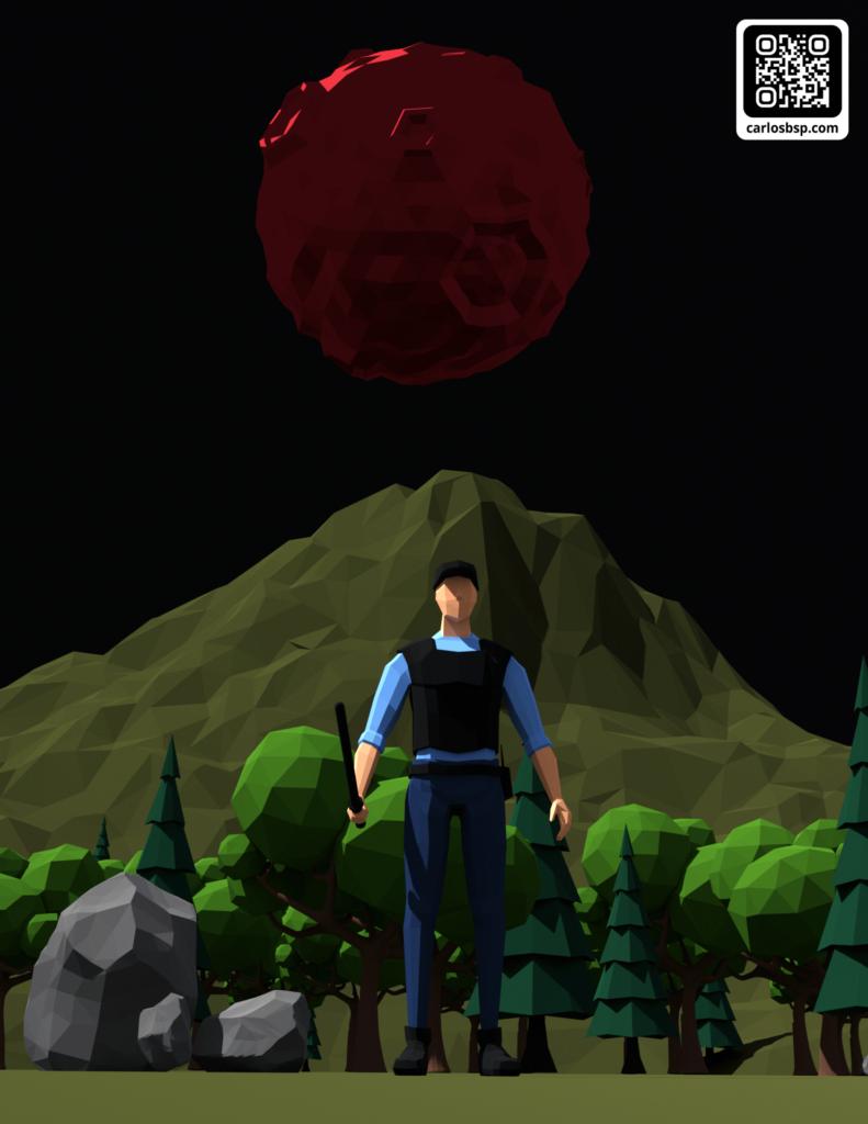 Render de un hombre el cual tiene un bosque y una montaña detrás. De fondo, una luna roja.