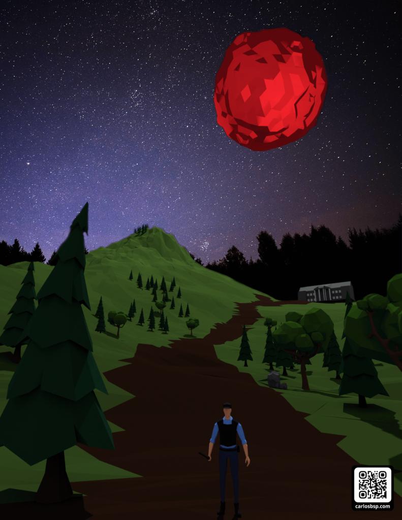 Render de un hombre el cual tiene una colina con árboles detrás. De fondo, una luna roja.
