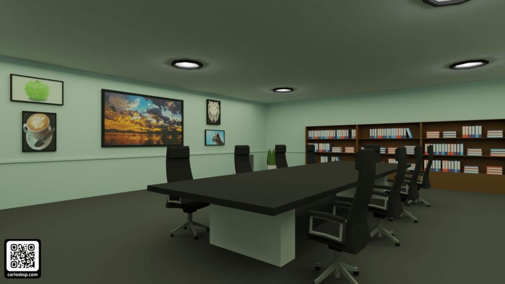 Render de la zona de reuniones de las oficinas
