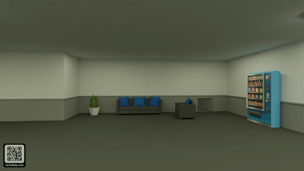 Render de un pasillo de la oficina