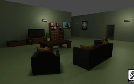 Render del salón del apartamento