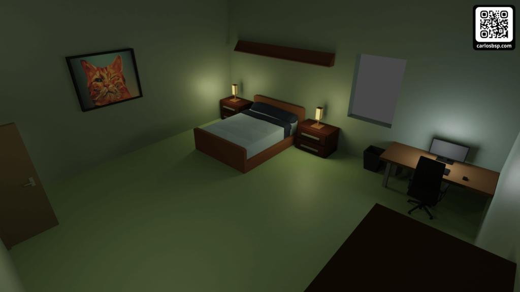 Render del dormitorio del apartamento