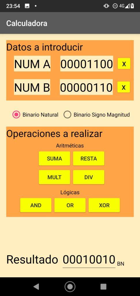 Captura de la aplicación con la operación realizada