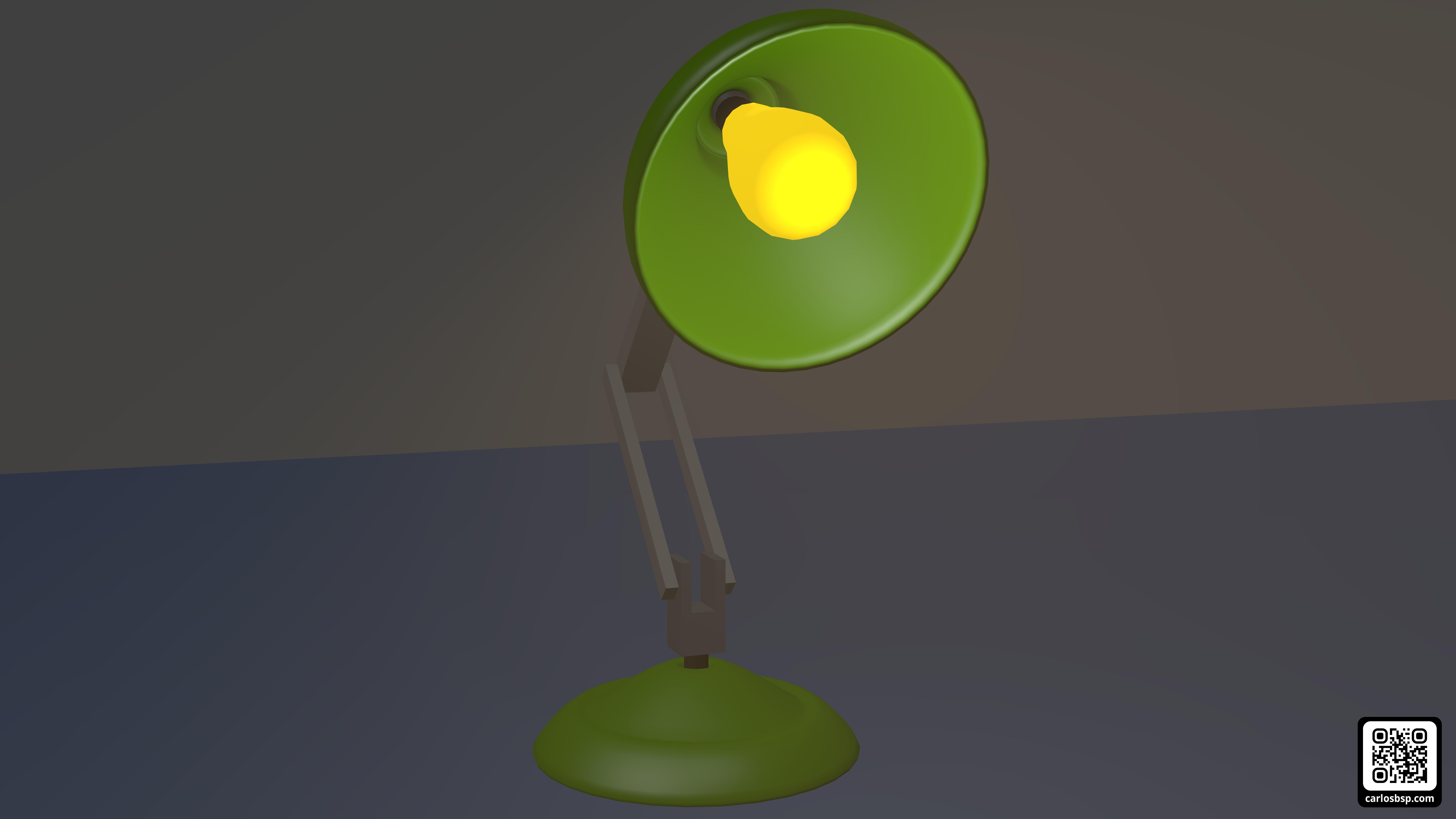 Render de la lámpara en el que se puede ver su interior (la bombilla)