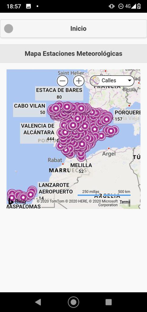 """Apartado de """"Mapa Estaciones Meteorológicas"""""""