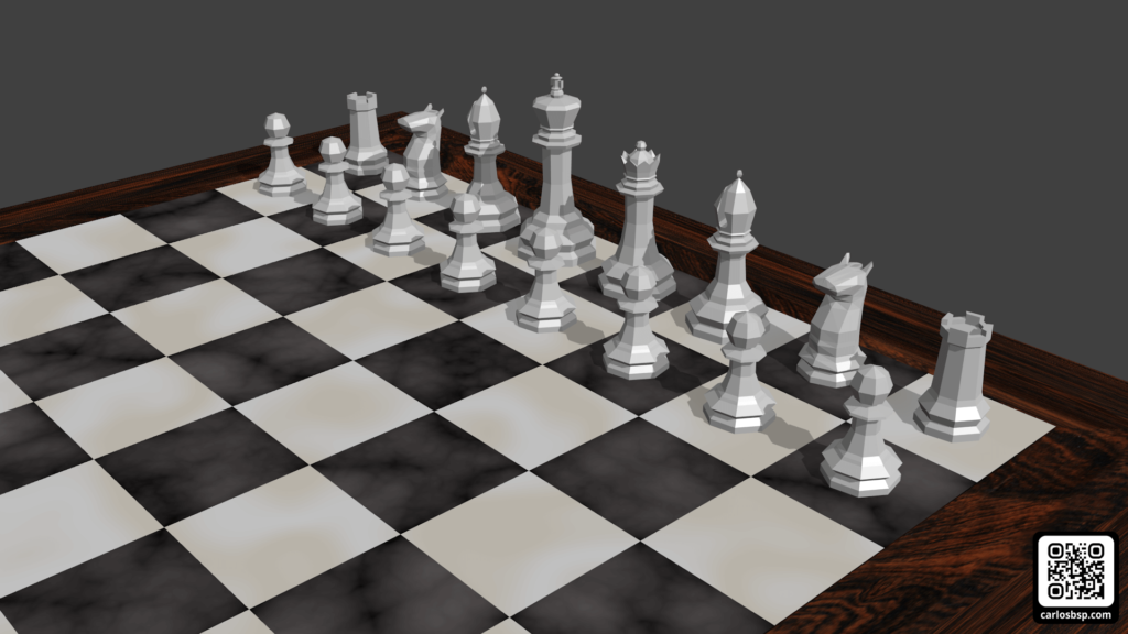Render de el tablero de ajedrez en donde se ven las piezas blancas