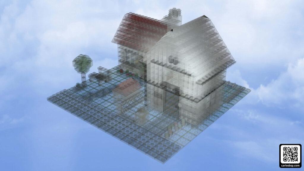 Render general de la casa de lego pero con transparencias