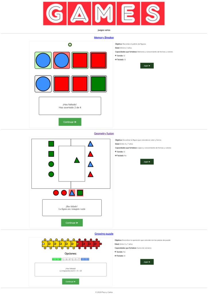 Captura de la página de inicio desde la cual se accede a los juegos