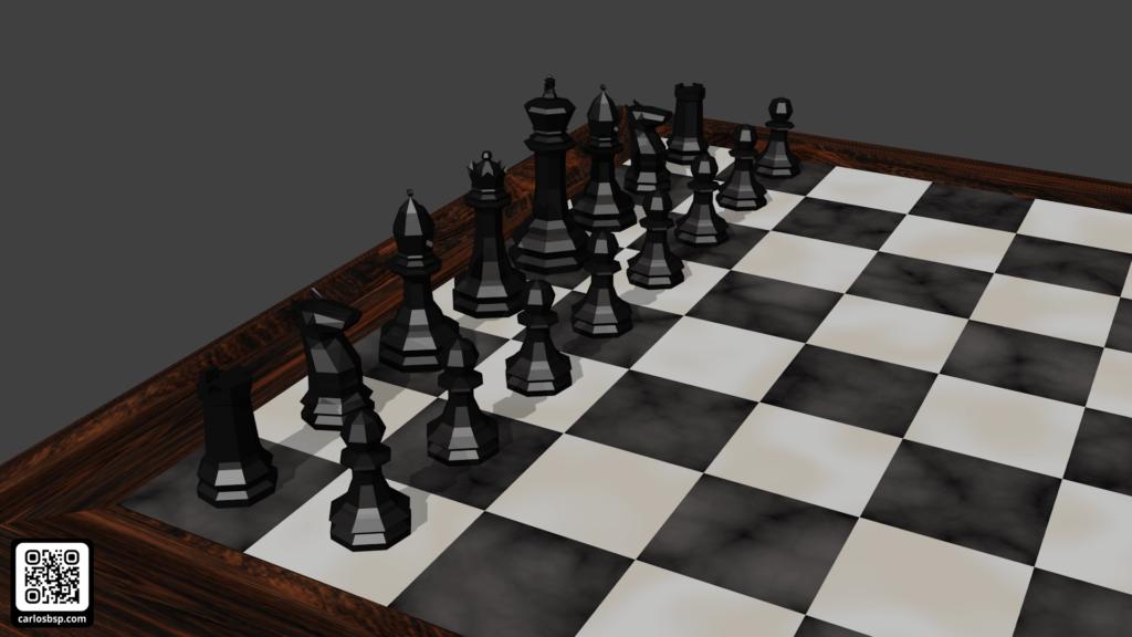 Render de el tablero de ajedrez en donde se ven las piezas negras