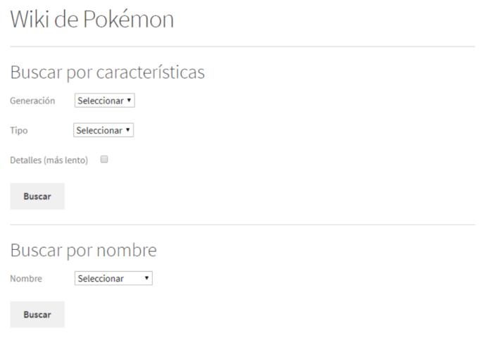 Apartado de la página que utiliza la API de Wikipedia para buscar información sobre Pokémon