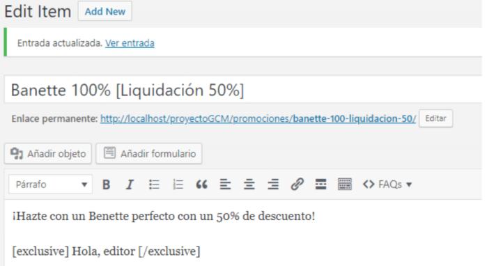 Ejemplo de la utilización del shortcode al crear una entrada en WordPress