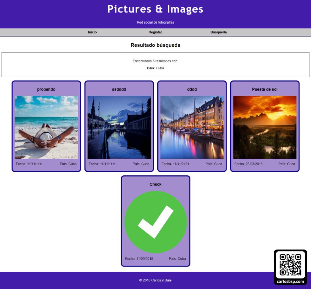 Apartado de búsqueda de imágenes de la página web