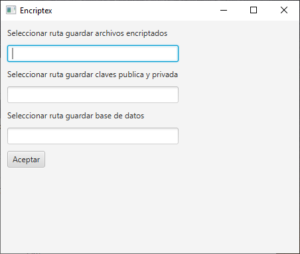 Apartado de configuración de la aplicación de encriptación de archivos