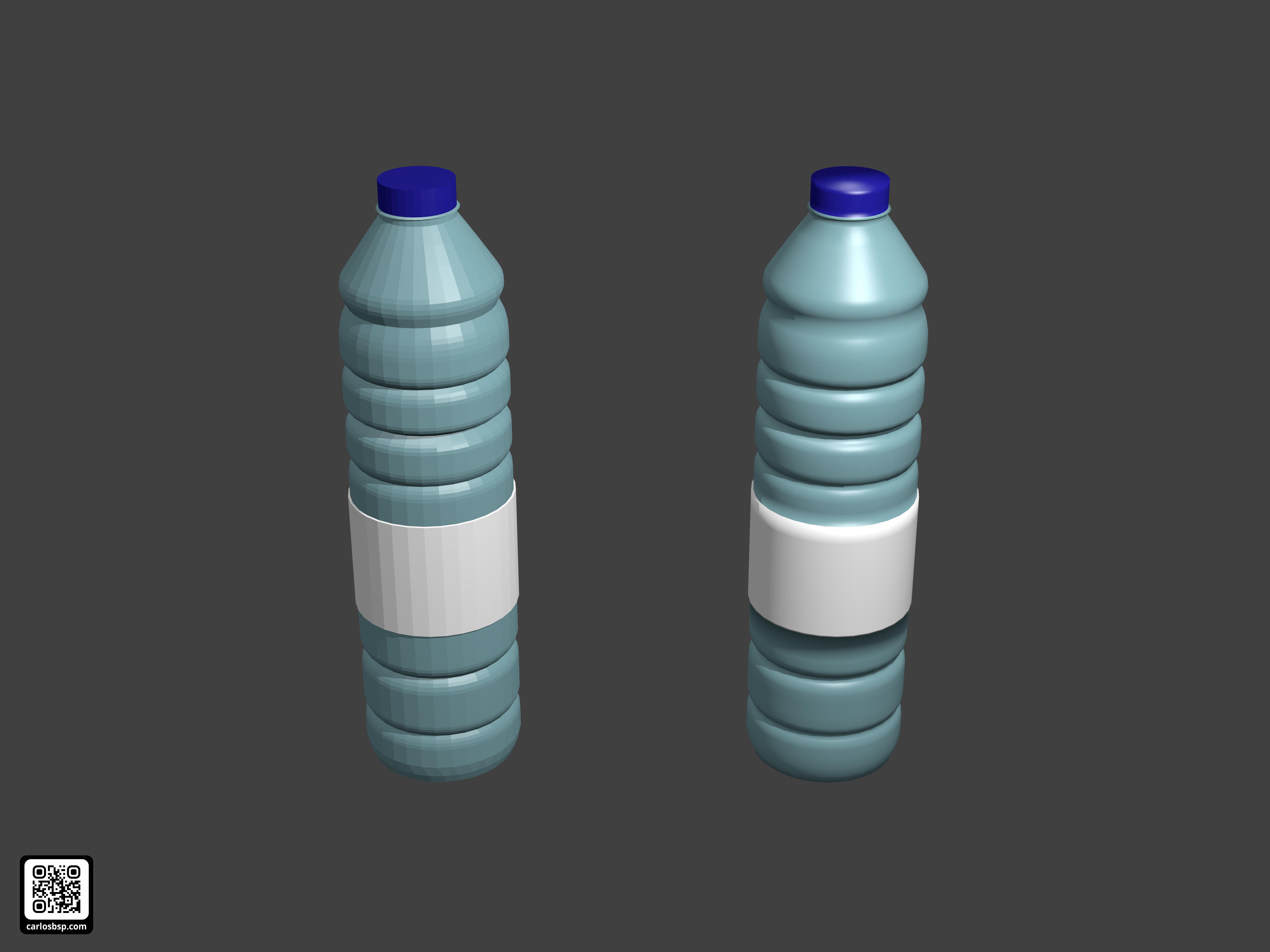 Render de dos botellas. Una con shader suave y otra con shader geométrico